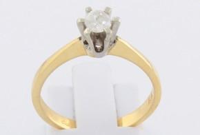 Годежен пръстен от бяло и жълто злато с диамант D1185