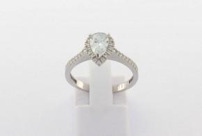 Годежен пръстен oт   бяло злато с циркон GD0174