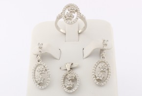 Дамски сребърен комплект с циркони SKT0007