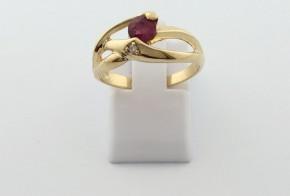 Годежен пръстен от жълто  злато с диамант D3080