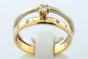 Дамски пръстен от бяло и жълто злато с диаманти D43