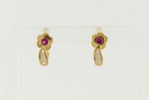 Детски златни обеци от жълто злато с циркони OBD0043
