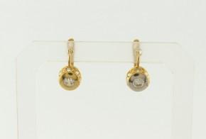 Детски златни обеци от жълто злато с циркони OBD0048