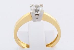 Годежен пръстен от бяло и жълто злато с циркон GD0135