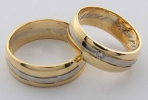 Брачни халки от бяло и жълто злато BH0004