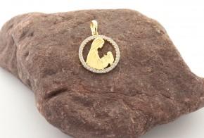 Златна висулка от жълто злато с циркон V0223