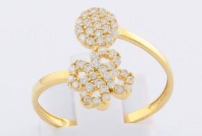 Дамски пръстен от жълто злато с циркони DD0099