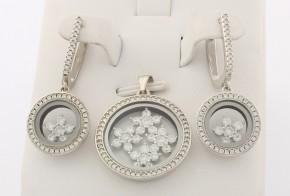 Дамски сребърен комплект с циркони SKT0011