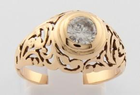 Дамски пръстен от жълто злато с циркон DD0147