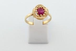 Годежен пръстен от жълто  злато с диамант D3078