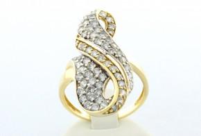 Дамски пръстен от жълто злато с циркони   DD0018V