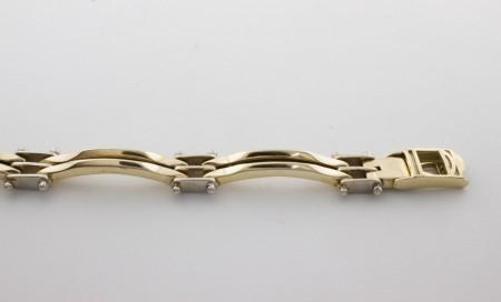 Златна гривна от бяло и жълто злато GR0038 - дължина 24 см., ширина 8мм.