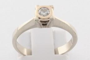 Годежен пръстен от бяло злато с диамант D2102
