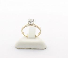 Годежен пръстен от бяло   злато с циркон- 2,32 грама, размер 49