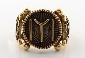 Мъжки пръстен от жълто злато с черен родий MD0060