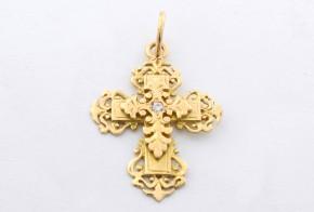 Златен кръст от  жълто злато  с циркон VK0028