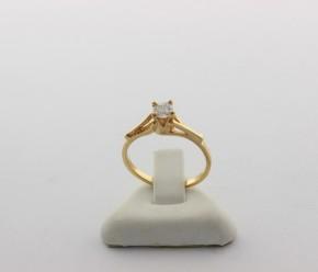 Годежен пръстен от жълто злато с циркон - 1,91 грама
