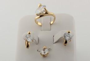 Комплект от жълто злато с циркони K0052