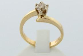 Годежен пръстен от жълто злато с диамант D1043