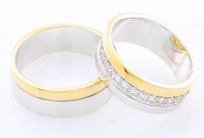 Брачни халки от бяло и жълто злато BH0138