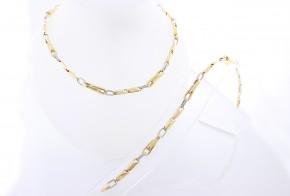 Златен синджир и гривна от бяло и жълто злато С0071