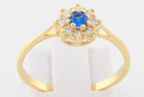 Дамски пръстен от жълто злато с циркони DD0106