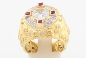 Мъжки пръстен от жълто злато с циркони MD0062