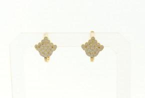 Детски златни обеци от жълто злато с циркони OBD0033