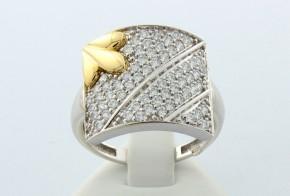Дамски пръстен от бяло и жълто злато с циркони DD0015