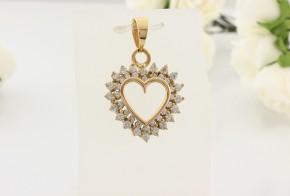 Златна висулка  сърце от жълто злато с циркони  V0045