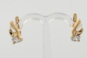 Дамски обеци от жълто злато с циркони - 3,03грама