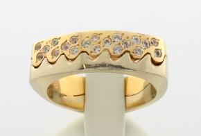 Дамски пръстен от бяло и жълто злато с циркони DD0041