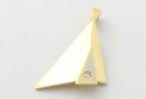 Висулка от бяло и  жълто  злато с диамант  VE851