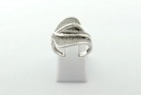 Дамски пръстен от бяло злато с циркони DD0204