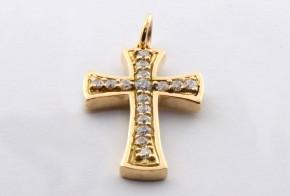 Златен кръст от жълто злато с циркони VK0024
