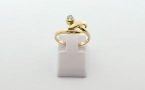 Дамски пръстен от жълто злато с циркон DD0219