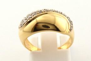 Дамски пръстен от жълто злато с циркони DD0089