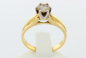 Годежен пръстен от бяло и  жълто злато с диамант D1044