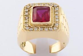 Мъжки пръстен от жълто злато с циркони MD0067