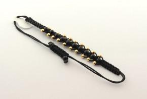 Златна гривна с черен  конец  със златни топчета  ZGC0023