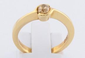 Годежен пръстен от жълто злато с диамант шампанско D977