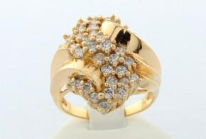 Дамски пръстен от жълто злато с циркони DD0017V