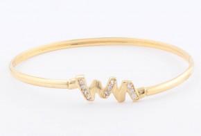 Златна твърда гривна от жълто злато с циркони GR0124