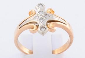 Дамски пръстен от розово и бяло злато с диаманти D961
