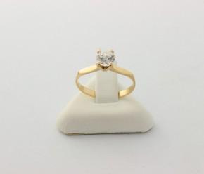Годежен пръстен от жълто злато с циркони - 1,33  грама ,размер 50