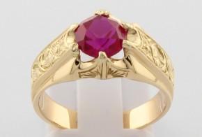 Дамски пръстен от жълто злато с циркон DD0141