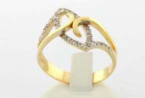 Дамски пръстен  от бяло и  жълто злато с циркони DD0034