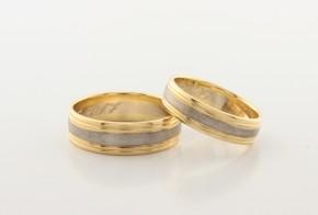 Брачни халки от бяло и жълто злато BH0257