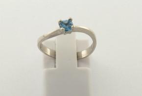 Годежен пръстен от бяло  злато с топаз D4015