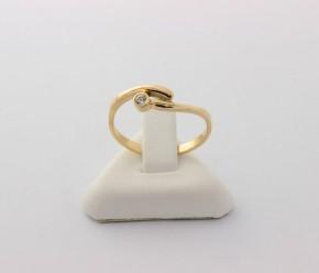 Годежен пръстен от жълто злато с циркон- 1,75 грама , размер 55